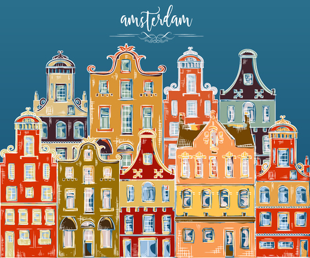amsterdam canal: Amsterdam. Old historic buildings and traditional architecture of Netherlands. Colorful hand drawn grunge style art. Vintage vector illustration. Banner, card, scrap booking, print, poster Illustration
