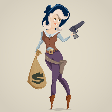 sexy young girls: Cowgirl with gun. Funny cartoon character. Vector illustration in retro style Illustration