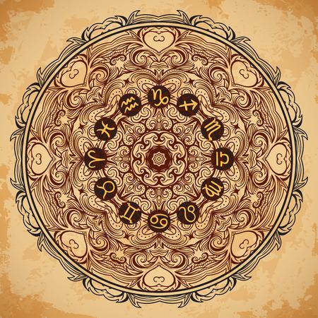 ホロスコープと華やかなマンダラと干支のサークルは高齢紙背景に署名します。ヴィンテージ手描きのベクトル図  イラスト・ベクター素材