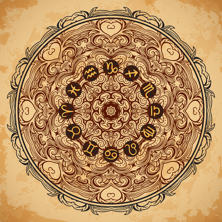 Ornate mandala and zodiac circle with horoscope signs on aged paper background. Vintage hand drawn vector illustration Ilustração
