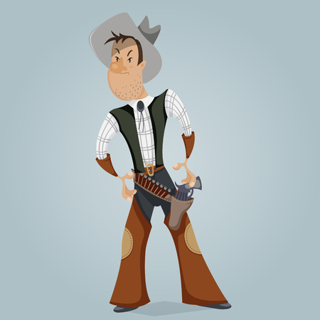 revolver: Cowboy. Funny cartoon character. Vector illustration in retro style