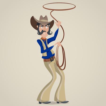 vestidos antiguos: Vaquero con el lazo. personaje de dibujos animados divertido. Ilustración del vector en estilo retro