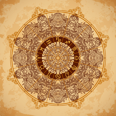 Ornate mandala and zodiac circle with horoscope signs on aged paper background. Vintage hand drawn vector illustration  イラスト・ベクター素材