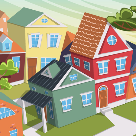 cartoon trees: City landscape with houses and trees. Cartoon vector illustration