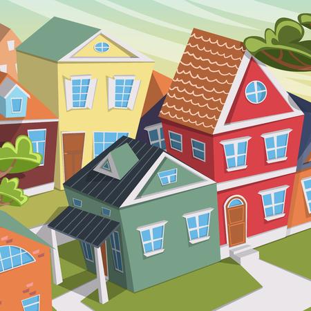 arboles caricatura: paisaje de la ciudad con casas y árboles. ilustración vectorial de dibujos animados Vectores