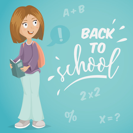 young schoolchild: Back to school. Schoolgirl with book. Funny cartoon character. Vector illustration