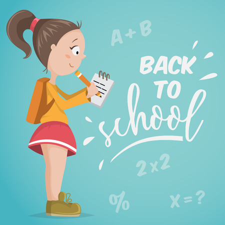 young schoolchild: Back to school. Schoolgirl with notebook. Funny cartoon character. Vector illustration Illustration