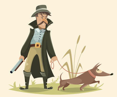 gun dog: Hunter with gun and dog. Funny cartoon character. Vector illustration in retro style