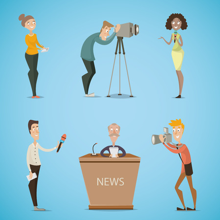 reporters: Journalists, reporters, cameraman, photographer. Collection of cartoon characters. Mass media, live news, reports, interviews, tv broadcasting concept . Vector illustration