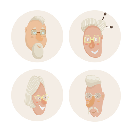 old people: Old people faces set. Cartoon characters. Vector illustration Illustration