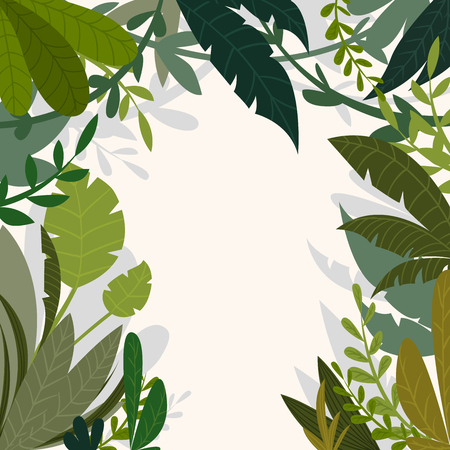 thickets: Tropical jungle background with palm trees and leaves in cartoon style. Vector illustration Illustration