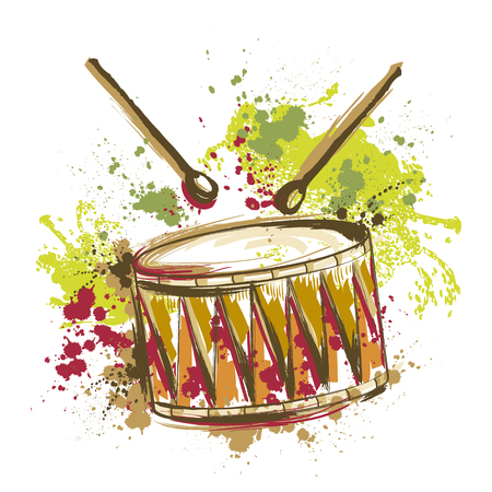 Drum with splashes in watercolor style. Hand drawn vector illustration Ilustração