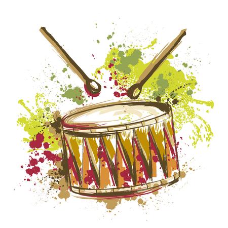 Trommel met spatten in aquarel stijl. Hand getrokken vector illustratie