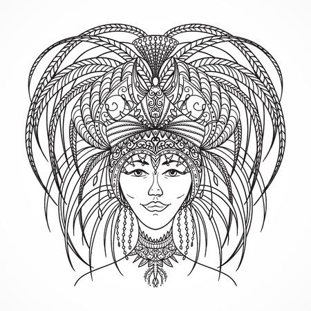 latin american girls: Brazilian carnival woman in festival costume. Hand drawn black and white vector illustration