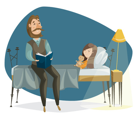 bedtime story: Father reading bedtime story to his daughter. Funny cartoon characters. Vector illustration in retro style
