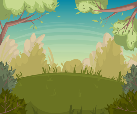 clearing: Summer landscape. Forest clearing with trees and bushes. Cartoon vector illustration