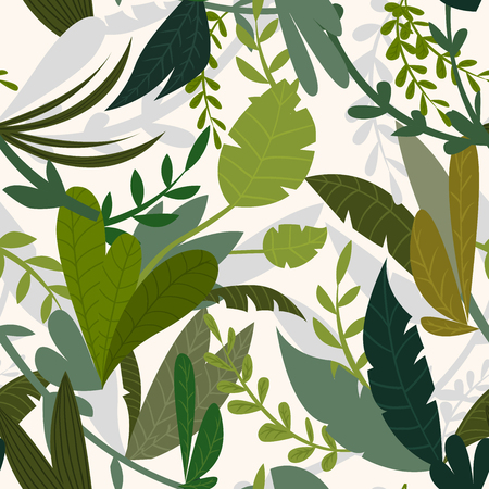 thickets: Summer tropical jungle background with palm trees and leaves. Seamless pattern. Cartoon vector illustration Illustration