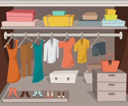 Garderobenraum mit Kleidung, Schuhen und Boxen. Cartoon Vektor-Illustration