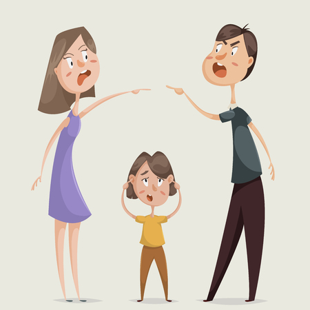 swear: Divorce. Family conflict. Couple man and woman swear and child close his ears. Cartoon characters. Vector illustration