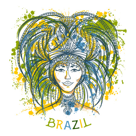 Brazilian carnival woman in festival costume with splashes in watercolor style. Colorful hand drawn vector illustration