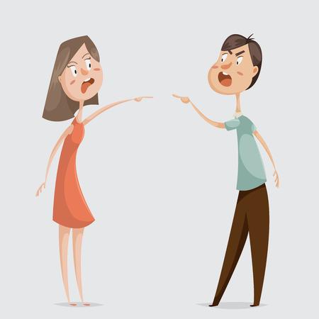 Divorce. Les conflits familiaux. Couple homme et femme jurent. Personnages de dessins animés. Vector illustration