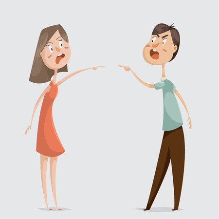 Divorce. Family conflict. Couple man and woman swear. Cartoon characters. Vector illustration