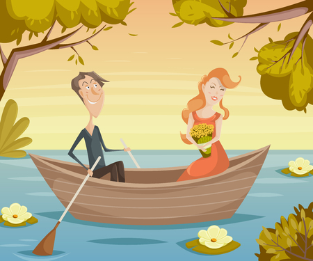 couple date: Romantic date. Couple in love girl and boy in boat. Funny cartoon characters. Vector illustration in retro style