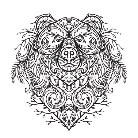 Bear with abstract floral ornament. Tattoo art. Retro banner, card, scrap booking, t-shirt, bag, postcard, poster. Highly detailed vintage hand drawn vector illustration Illustration