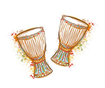 Tambores tam tam con salpicaduras en el estilo de la acuarela. Ilustración colorida del vector dibujado a mano