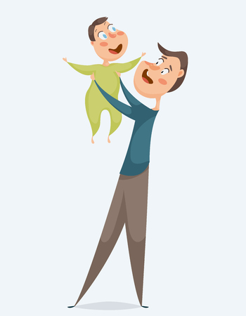 Father with baby. Funny cartoon characters. Vector illustration