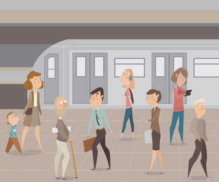 busy city: People in subway. Funny cartoon characters. Vector illustration