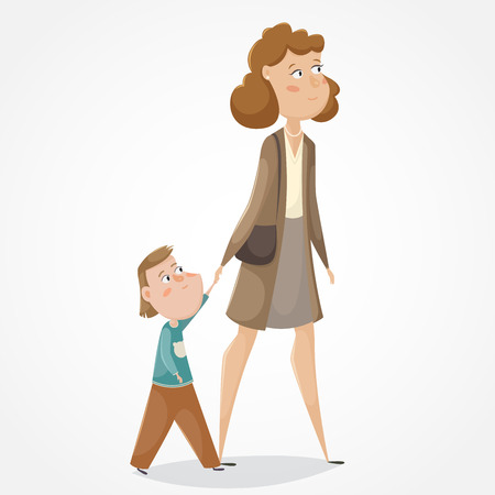 unmarried: Mother and son walking and holding hands. Funny cartoon characters. Vector illustration