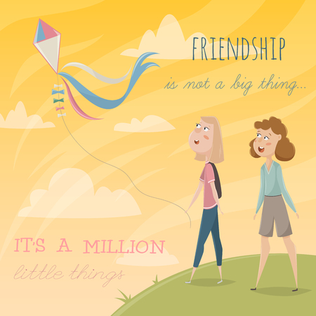 big girls: Girls fly a kite. Funny cartoon characters. Vector illustration with typography elements. Friendship is not a big thing, it is a million little things.