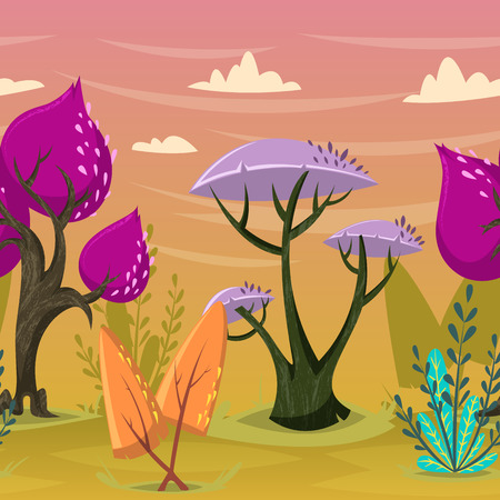 magical forest: Seamless background with beautiful trees in magical forest. Cartoon colorful summer landscape. Isolated elements. Vector illustration Illustration