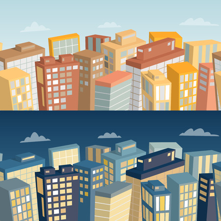 panoramic view: Seamless background with city landscape. Day and night panoramic view. Cartoon vector illustration