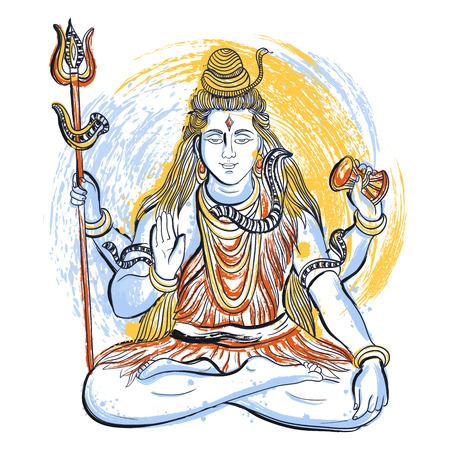 hinduismo: Dios Shiva indio con salpicaduras abstractas en estilo de la acuarela. Concepto de diseño para la camiseta, impresión, cartel, tarjeta. ilustración vectorial de dibujado a mano de la vendimia