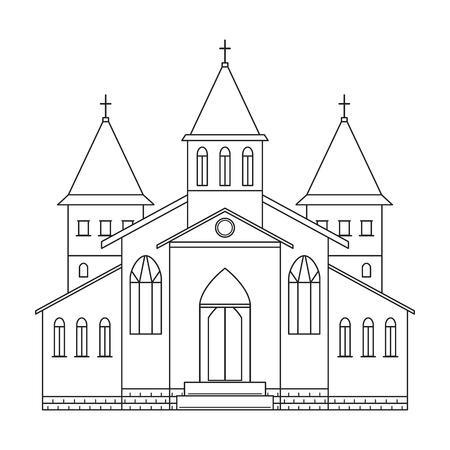 教会の建物。アート スタイルです。黒と白のベクトル図