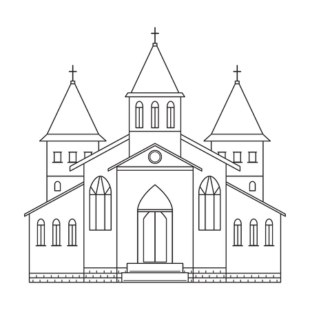 doctrine: Church building. Line art style. Black and white vector illustration
