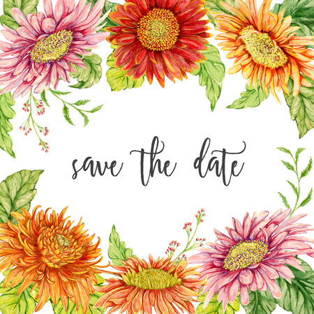 Save the date card with watercolor gerbera flowers. Wedding invitation. Vintage hand drawn illustration.