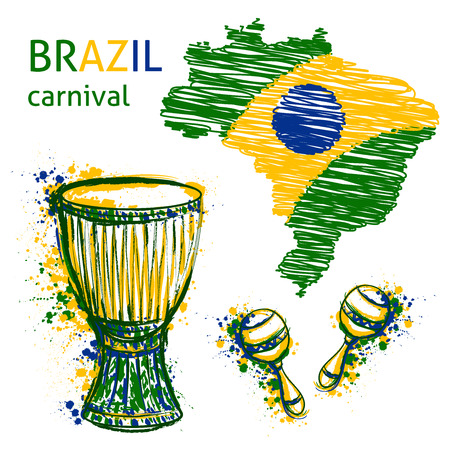 Brazil carnival symbols. Drums tam tam, maracas and brazil map with brazil flag colors. Design concept for banner, card, t-shirt, print, poster. Vector illustration Ilustracja