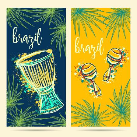 ブラジルのカーニバルのシンボル。ドラムのタム tam、マラカスとヤシの葉です。グリーティング カード、バナー、ブラジル党のための招待のための  イラスト・ベクター素材