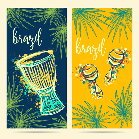 Brazil carnival symbols. Drum tam tam, maracas and palm leaves.Design concept for greeting card, banner, invitation for brazil party. Vector illustration