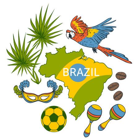 Brazil symbols set. Design concept for banner, card, t-shirt, print, poster. Vector illustration