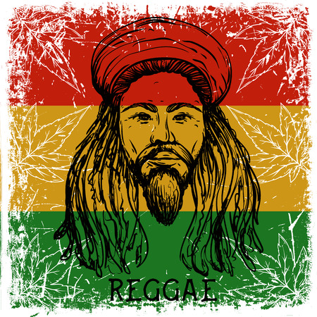 bob: Portrait of rastaman on grunge background and cannabis leaves. Jamaica theme. Reggae concept design. Tattoo art. Retro banner, card, t-shirt, bag, print, poster. Hand drawn vector illustration