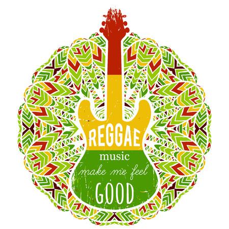 Typografie poster met gitaar op sierlijke mandala achtergrond. Reggae muziek maakt me een goed gevoel. Jamaica thema. Ontwerpconcept in reggae kleuren voor banner, kaart, t-shirt, print, poster. vector illustratie