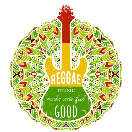 t shirt design: Typography poster with guitar on ornate mandala background. Reggae music make me feel good. Jamaica theme. Design concept in reggae colors for banner, card, t-shirt, print, poster. Vector illustration Illustration