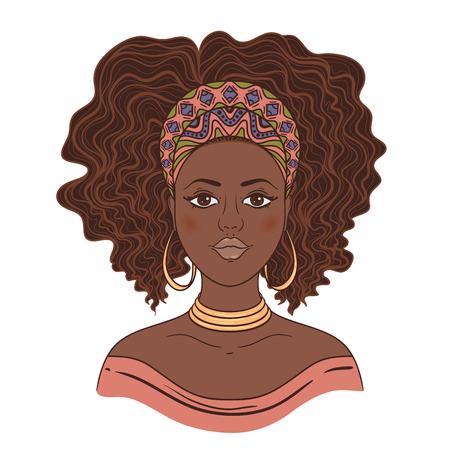 Ritratto di donna africana. disegnata a mano illustrazione vettoriale.