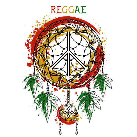 rastafarian: Dreamcatcher with cannabis leaves and peace symbol. Jamaica theme. Design concept in reggae colors for banner, card, t-shirt, bag, print, poster. Vector illustration