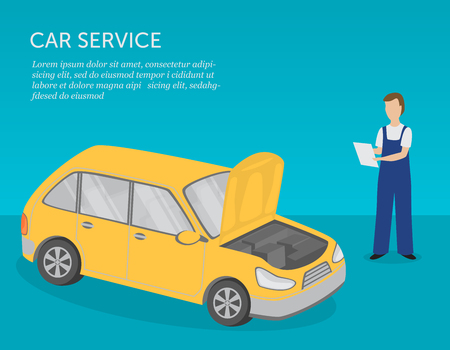 Car service banner. Serviceman and car. Car repairs, diagnostics and maintenance. Isometric view. Vector illustration