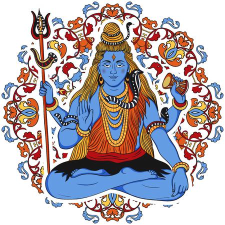 Indian god Shiva over ornate mandala background. Concept design for t-shirt, print, poster, card. Vintage hand drawn vector illustration